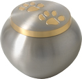 Odyssey Paw Print Urn in Silver (Shown), Gold, or Rose
